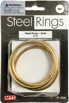 4 PC 6CM STEEL RINGS - GOLD (24 PACKS) PF-4509