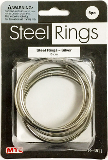 5 PC 6CM STEEL RINGS - SILVER (24 PACKS) PF-4511
