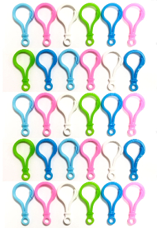 "30 PC 2"" PLASTIC KEYCHAIN HOOKS - ASSORTED (24 PACKS) PF-4357"