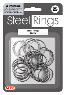25 PC 2.5 CM STEEL RINGS - SILVER (24 PACKS) PF-4189