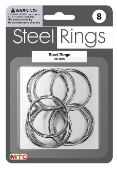 8 PC 4 CM STEEL RINGS - SILVER (24 PACKS) PF-4191