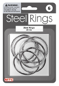 6 PC 5 CM STEEL RINGS - SILVER (24 PACKS) PF-4192