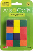 24 PC 1.5CM WOOD CUBES - ASSORTED (24 PACKS) PF-4374