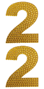 "2 PC 4"" RHINESTONE STICKERS-#2 GOLD (24 PACKS) PF-4440"