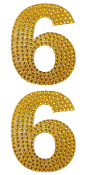 "2 PC 4"" RHINESTONE STICKERS-#6 GOLD (24 PACKS) PF-4448"
