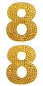 "2 PC 4"" RHINESTONE STICKERS-#8 GOLD (24 PACKS) PF-4452"