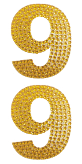 "2 PC 4"" RHINESTONE STICKERS-#9 GOLD (24 PACKS) PF-4454"