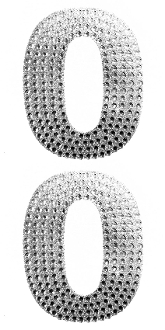 "2 PC 4"" RHINESTONE STICKERS-#0 SILVER (24 PACKS) PF-4457"