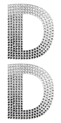 "2 PC 4"" RHINESTONE STICKERS-#D (24 PACKS) PF-4461"