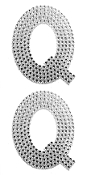 "2 PC 4"" RHINESTONE STICKERS-#Q (24 PACKS) PF-4474"