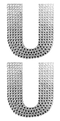 "2 PC 4"" RHINESTONE STICKERS-#U (24 PACKS) PF-4478"