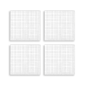 "4 PCS 4.25"" PLASTIC SQUARE CANVAS - WHITE (24 PACKS) PF-4521"