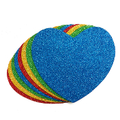 8 PC 14 CM EVA HEART GLITTER FOAM -ASSORTED (24 PACKS) PF-4596