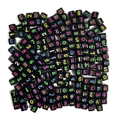 200 PC 7MM X 7MM NUMBERS BEADS-BLACK (24 PACKS) PF-4534