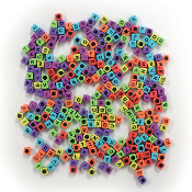 300 PC 6MM X 6MM ABC BEADS - BRIGHT ASSORT (24 PACKS) PF-3336