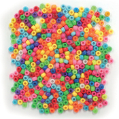 400 PC 6MM X 9MM PONY BEADS - BRIGHT ASSORT (24 PACKS) PF-2805