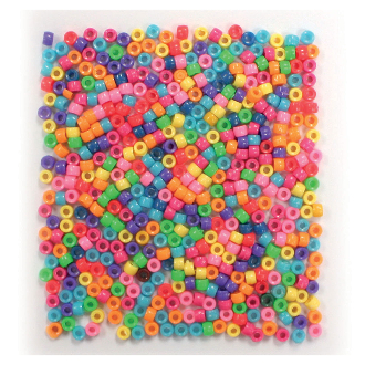 600 PC 5MM X 7MM PONY BEADS - BRIGHT ASSORT (24 PACKS) PF-3394