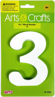 "4.5"" WOOD NUMBER - #3 (24 PACKS) PF-4555"