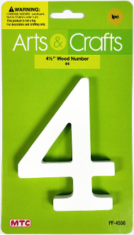 "4.5"" WOOD NUMBER - #4 (24 PACKS) PF-4556"