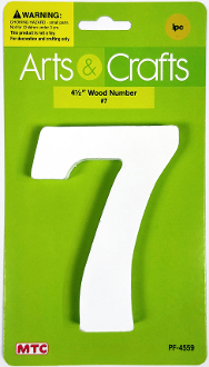 "4.5"" WOOD NUMBER - #7 (24 PACKS) PF-4559"