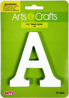 "4.5"" WHITE WOOD LETTER - A (24 PACKS) PF-4563"