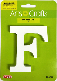 "4.5"" WHITE WOOD LETTER - F (24 PACKS) PF-4568"