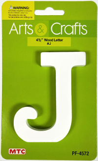 "4.5"" WHITE WOOD LETTER - J (24 PACKS) PF-4572"