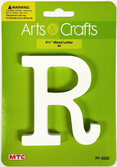 "4.5"" WHITE WOOD LETTER - R (24 PACKS) PF-4580"