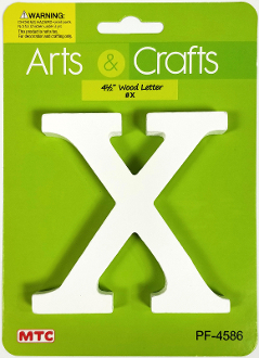 "4.5"" WOOD LETTER - X (24 PACKS) PF-4586"