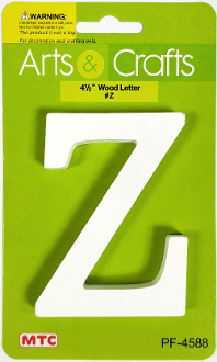 "4.5"" WHITE WOOD LETTER - Z (24 PACKS) PF-4588"