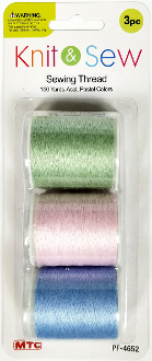 3 PC 150 YD SEWING THREAD-PASTEL ASSORT (24 PACKS) PF-4652