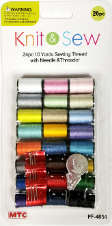 26 PCS SEWING THREAD W/NEEDLE & THREADER (24 PACKS) PF-4654