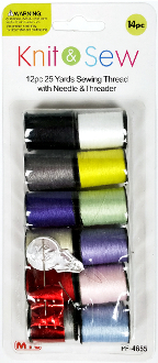 14 PC SEWING THREAD W/NEEDLE & THREADER (24 PACKS) PF-4655