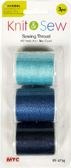 3 PC 150 YD SEWING THREAD-BLUE SERIES (24 PACKS) PF-4716
