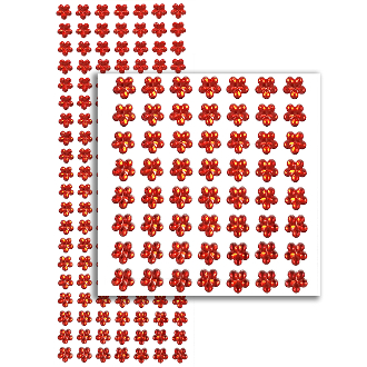140 PCS FLOWER RHINESTONE STICKERS-RED (24 PACKS) PF-4732