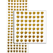 133 PC HEART RHINESTONE STICKERS-GOLD (24 PACKS) PF-4734