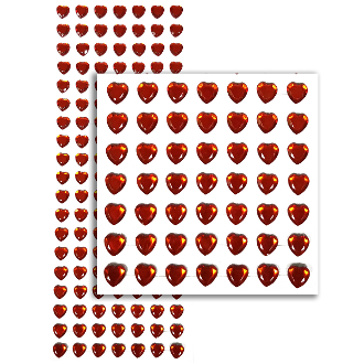 133 PC HEART RHINESTONE STICKERS-RED (24 PACKS) PF-4736