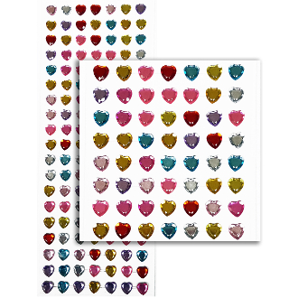 133 PC HEART RHINESTONE STICKERS-ASSORT (24 PACKS) PF-4737