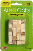 48 PC 1CM WOOD CUBES - NATURAL (24 PACKS) PF-4722