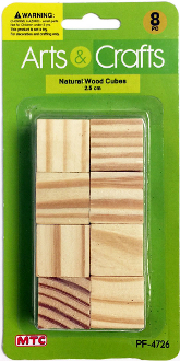 8 PC 2.5 CM WOOD CUBES - NATURAL (24 PACKS) PF-4726