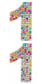 "2 PC 4"" RHINESTONE STICKERS-#1 RAINBOW (24 PACKS) PF-4748"