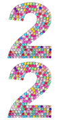 "2 PC 4"" RHINESTONE STICKERS-#2 RAINBOW (24 PACKS) PF-4749"