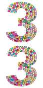 "2 PC 4"" RHINESTONE STICKERS-#3 RAINBOW (24 PACKS) PF-4750"