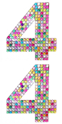 "2 PC 4"" RHINESTONE STICKERS-#4 RAINBOW (24 PACKS) PF-4751"