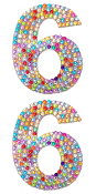 "2 PC 4"" RHINESTONE STICKERS-#6 RAINBOW (24 PACKS) PF-4753"
