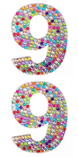 "2 PC 4"" RHINESTONE STICKERS-#9 RAINBOW (24 PACKS) PF-4756"