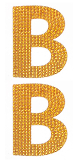 "2 PC 4"" RHINESTONE STICKERS-#B GOLD (24 PACKS) PF-4759"