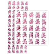 48 PCS BOW RHINESTONE STICKERS-PINK (24 PACKS) PF-4785