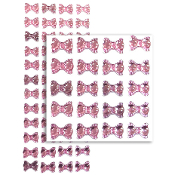 48 PCS BOW RHINESTONE STICKERS-PINK (24 PACKS) PF-4789