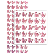 60 PCS BABY TROLLEY RHINESTONE STICKERS-PINK (24 PACKS) PF-4787